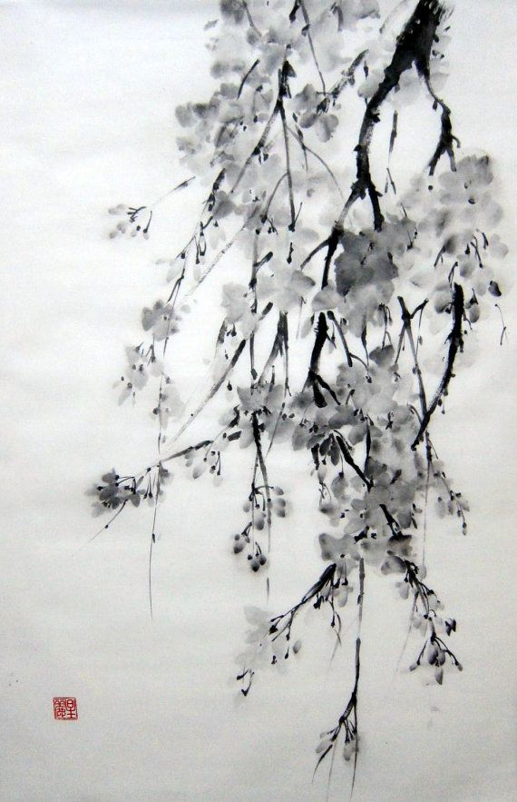 Japanese Ink Painting on Rice Paper 18x25 inch by Suibokuga, €68.00