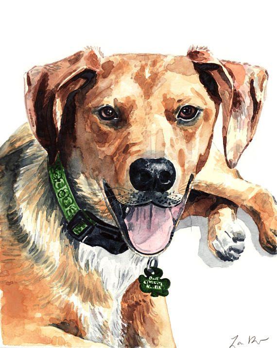 Custom Pet Portrait Personalized Original Watercolor Painting