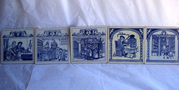 $49.95 VTG set 5 pcs Delft Ceramic Art Tiles - Holland Pharmacy Contemporary coaster Rx blue white