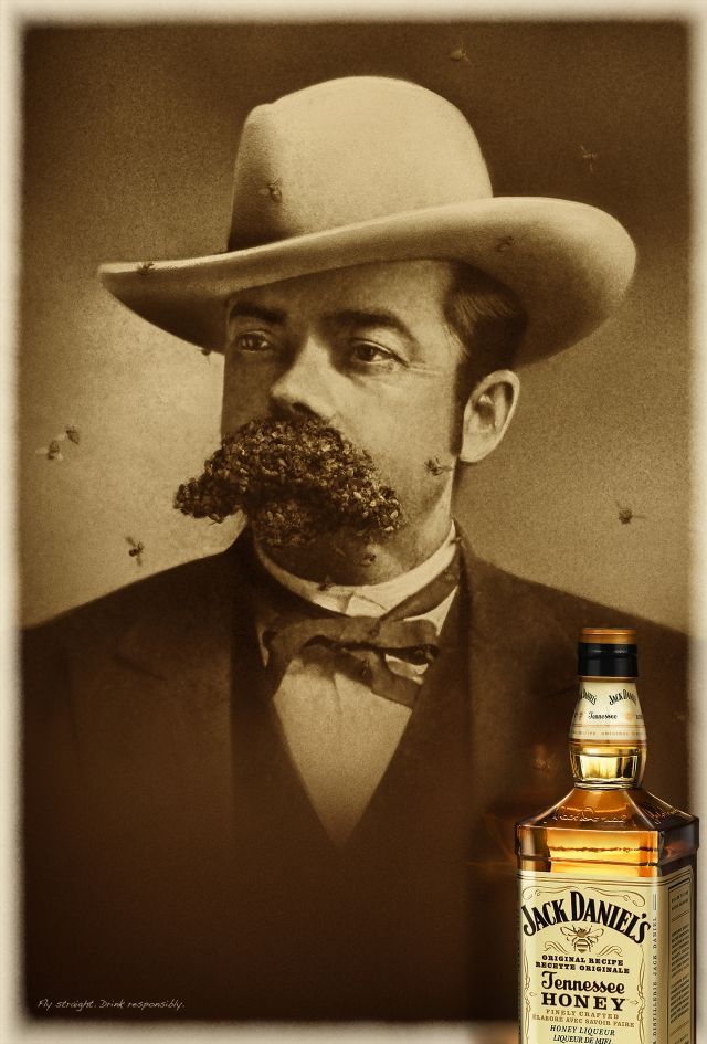 Jack Daniel's Tennessee Honey: Bees - LOOK CLOSER TO MUSTACHE!
