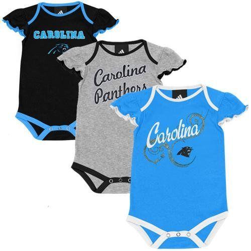 NFL Carolina Panthers Newborn Girls Little Lady 3-Pack Creeper Set ... 8b1d0e319