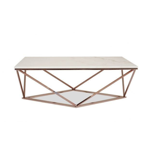 Aria Rose Gold Coffee Table With White Marble Top Gold Coffee