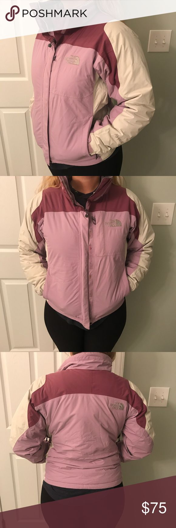 North Face Winter Jacket Women's North Face jacket in great condition! Size small. Very warm. Light purple in color with off-white and darker purple colors as well. Insulated with zippers in the armpits. The North Face Jackets & Coats