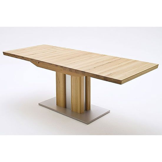 Bergamo Extendable Solid Oak Dining TableColumnar table solid oak in core beechFeatures:•Bergamo Extendable Solid Oak Dining Table•edge of table is doubled 50 mm•Table Base is ...