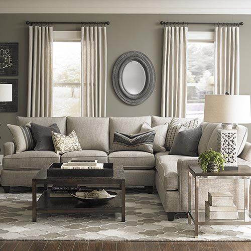 Custom Upholstered L-Shaped Sectional by Bassett Furniture. Design your own sectional by specifying a frame size; arm base cushion and back styles; ... : living room designs with sectionals - Sectionals, Sofas & Couches