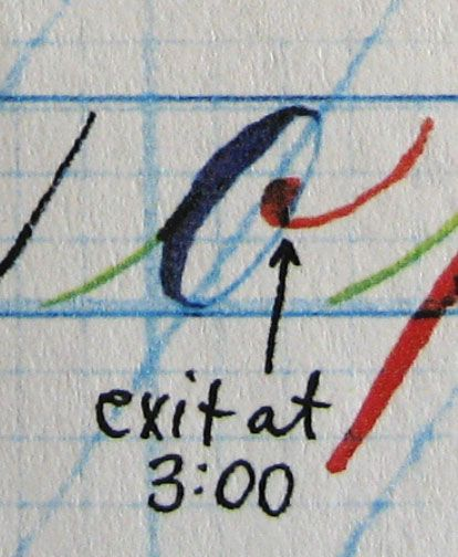 """Today DeAnn had us do calligraphy calisthenics (""""calli-sthenics"""") and demonstrated writing the Copperplate lowercase alphabet.    To warm-up..."""