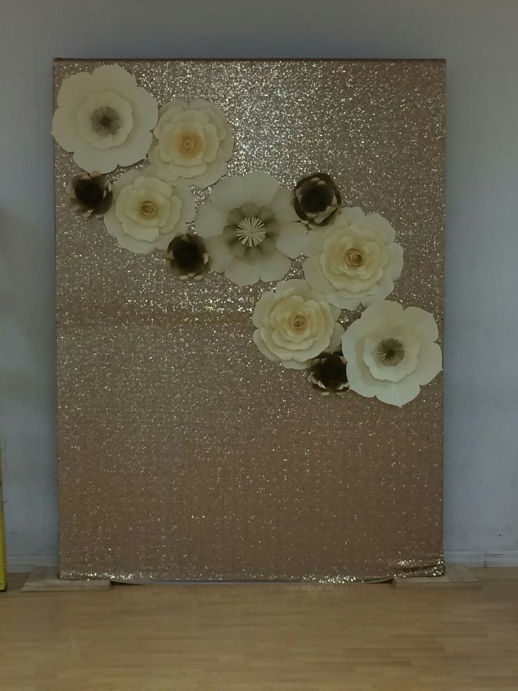 paper flower backdrop  gold sequence backdrop  wedding