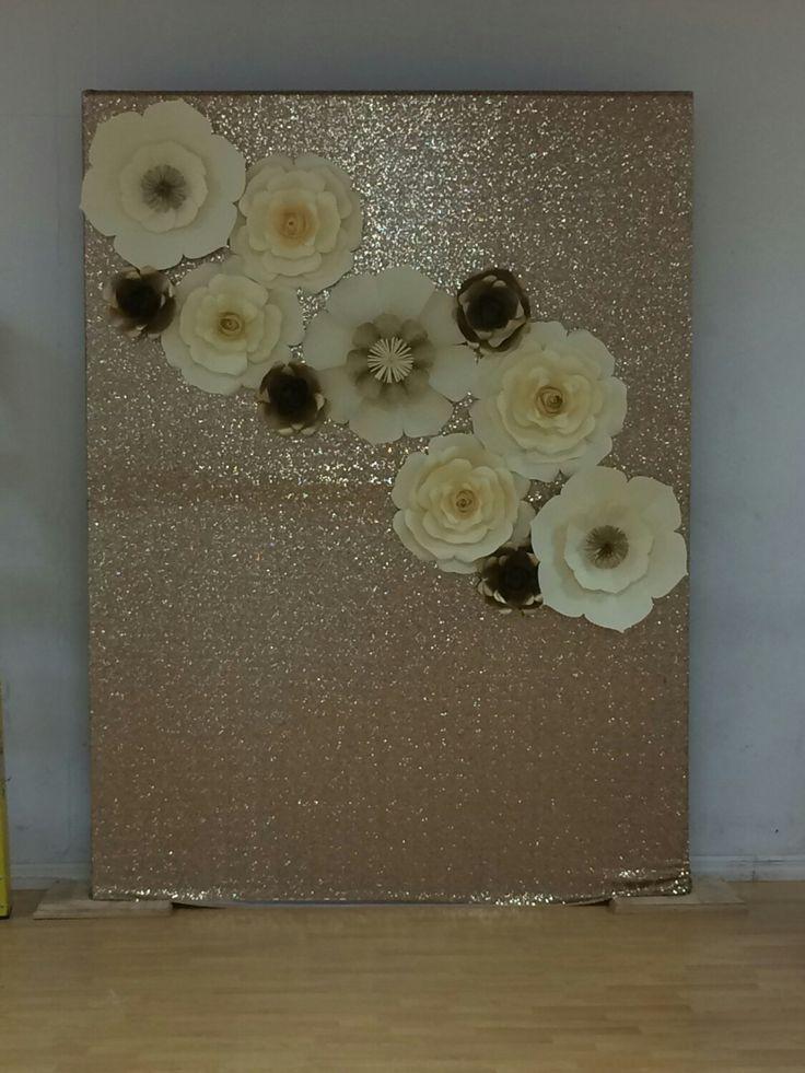 paper flower backdrop, gold sequence backdrop, wedding backdrop, quinceañera backdrop