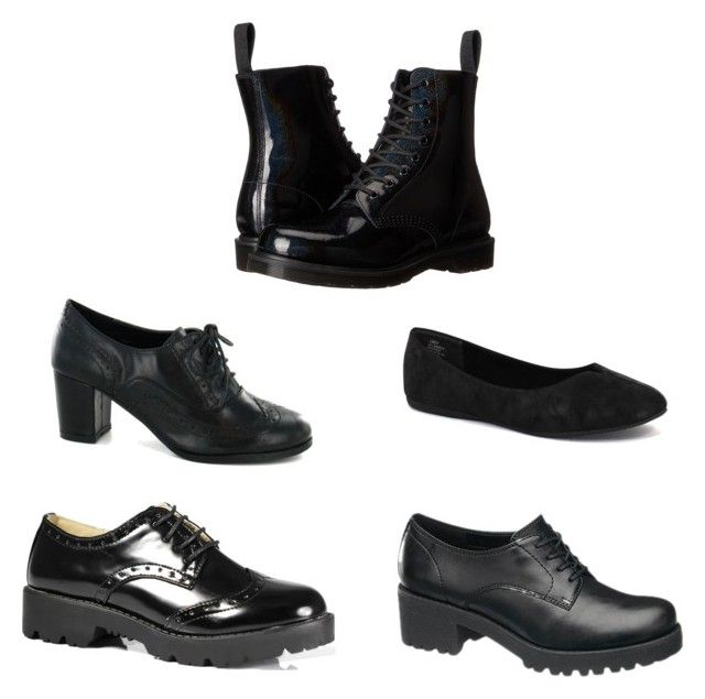 """""""Black School Shoes"""" by mailyrooks on Polyvore featuring Dr. Martens and Jellypop"""