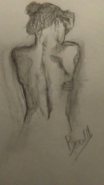 Womans bare back pencil drawing drawn by alma bould