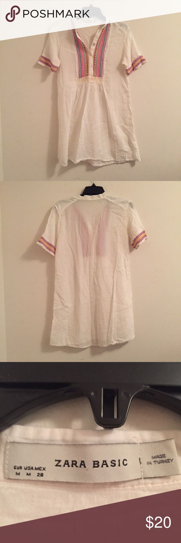 Zara boho tunic dress Super cute like new Zara boho tunic top or swimsuit cover up. Worn once on a trip to Florida but don't see myself getting a chance to wear it again. In great condition! Zara Swim Coverups