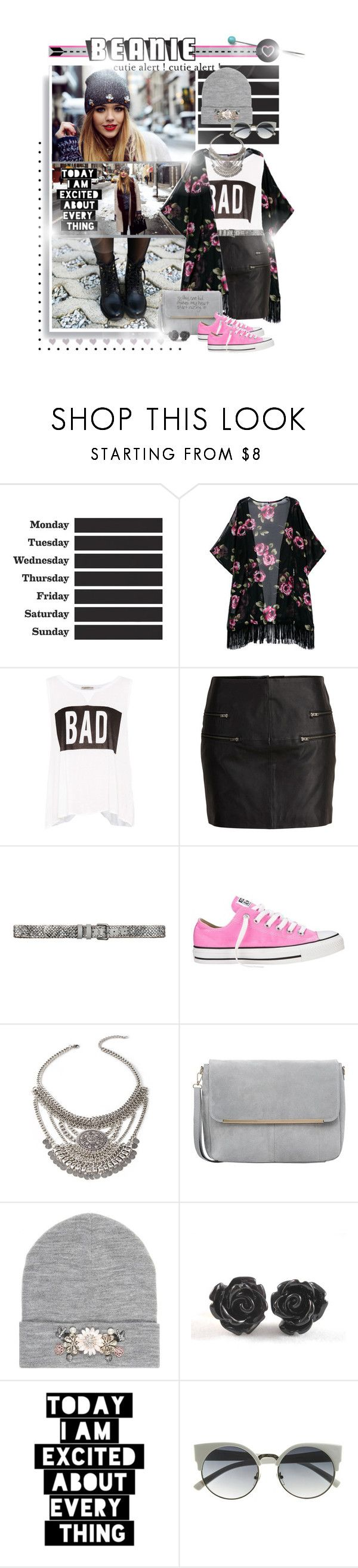 """""""Love my beanie // cutie alert!"""" by lisageurts ❤ liked on Polyvore featuring ferm LIVING, Pull&Bear, SELECTED, BeckSöndergaard, Converse, Forever 21, George J. Love, River Island, WALL and Seletti"""