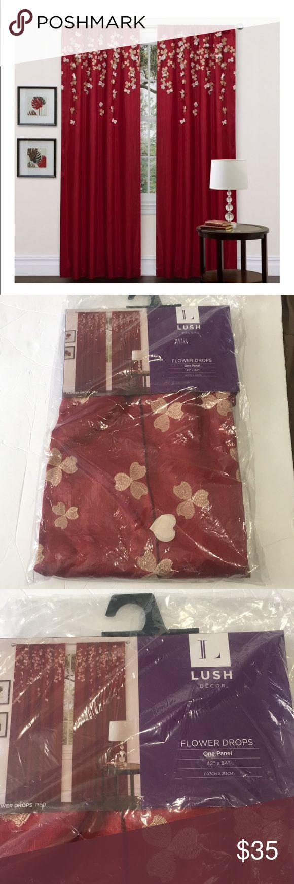 Lush Decor Red flower drop curtain panel 42×84 Lus…