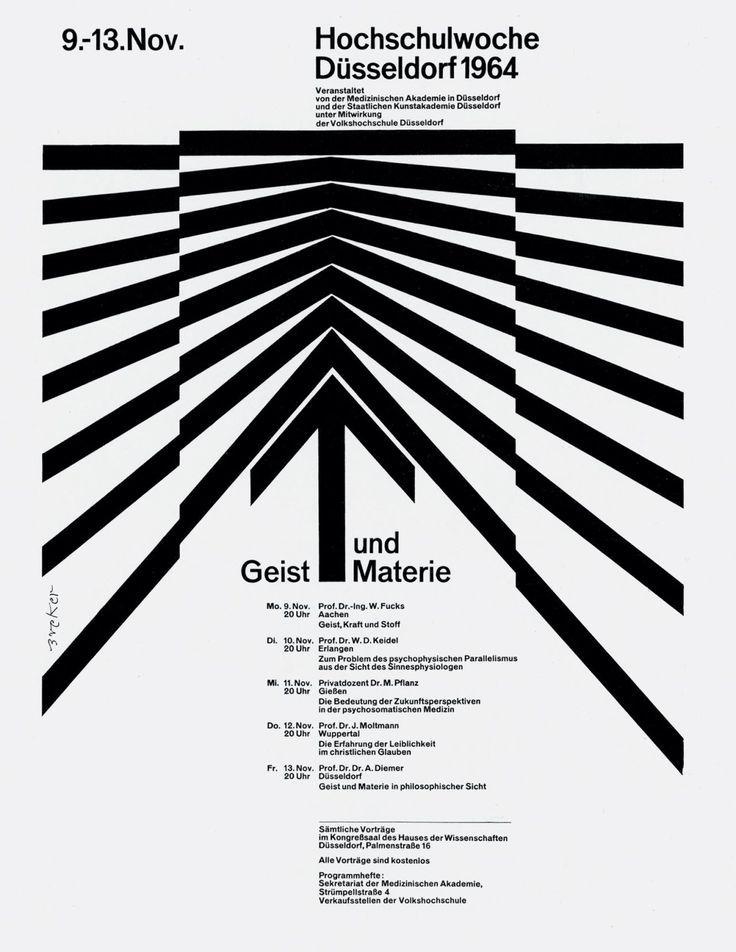 Hochschulwoche Dusseldorf 1964 Poster Design By Walter Breker 1964 Breker Design Dusseldorf Graphic Design Typography Graphic Design Logo Graphic Design
