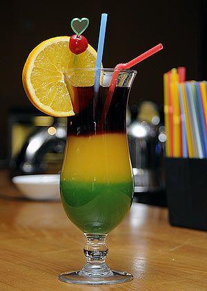 Безалкогольный коктейль «Светофор». Цветопробы