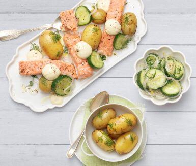 En lätt laxrätt sätter guldkant på vilken vardag som helst! Låt laxen sköta sig själv i ugnen medan du svänger ihop en fräsch gurksallad av skivad gurka, citron, dill och silverlök. Servera tillsammans med kokt potatis och krämig aioli.