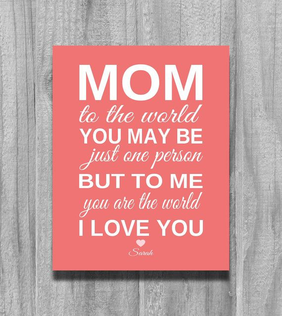 Mom Birthday Gift Personalized CHRISTMAS from Child for Mother Grandma Parents To Me You Are The World Art Print Custom Colors