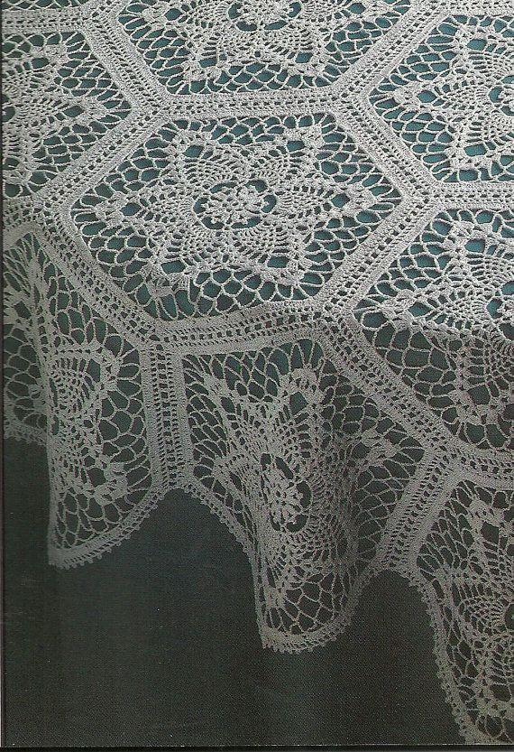 Dainty crochet tablecloth pattern. Decorative Crochet Magazine May 1994