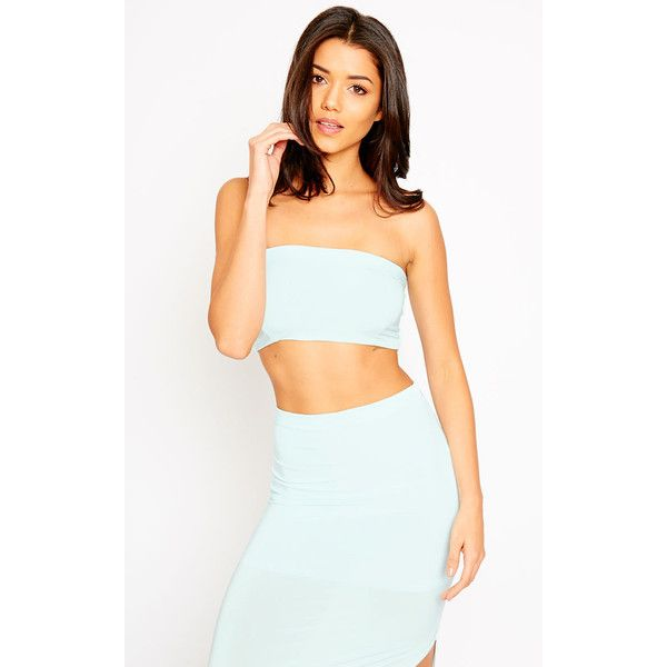 Helsa Mint Slinky Bandeau Crop Top - 4 (1085 DZD) ❤ liked on Polyvore featuring tops, green, bandeau tops, cut-out crop tops, form fitting tops, green bandeau top and bandeau crop top