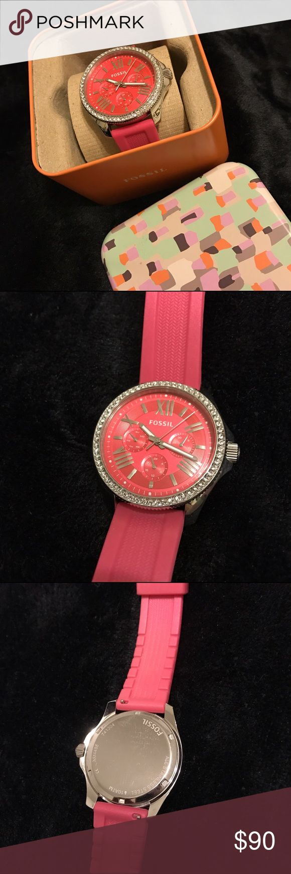 Pink fossil watch Worn Once! Comes in box. Pink blingy Fossil Watch Fossil Jewelry