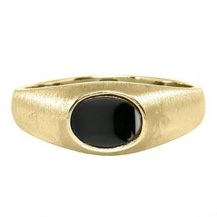 East-West Oval Cut Black Onyx Yellow Gold Pinky Ring For Men Available Exclusively at Gemologica.com