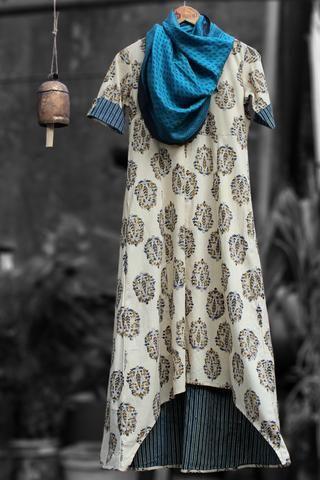 asymmetrical dress - royal mughal & indigo