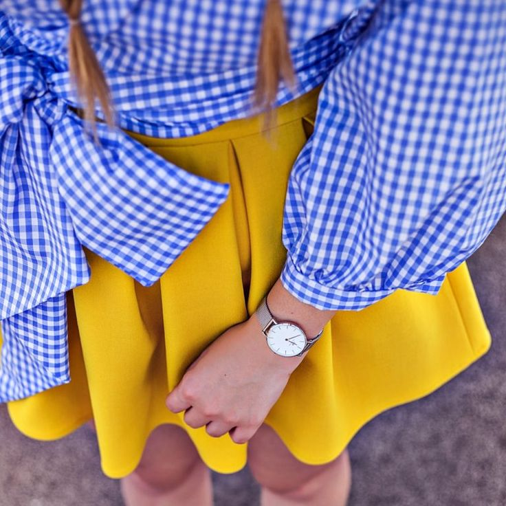 Daniel Wellington Classic Petite Silver watch and yellow skirt with striped blouse