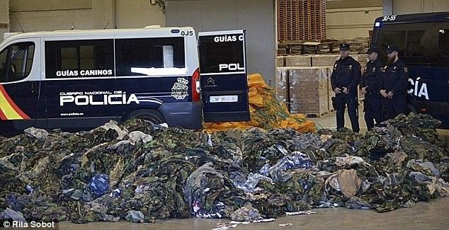 Up to 20,000 military uniforms hidden inside aid packages as second hand clothes have been uncovered after Spanish authorities busted a large scale smuggling ring to terrorist groups in Syria and Iraq. ecurity staff fear that the military goods were meant for ISIS in Syria and Iraq.
