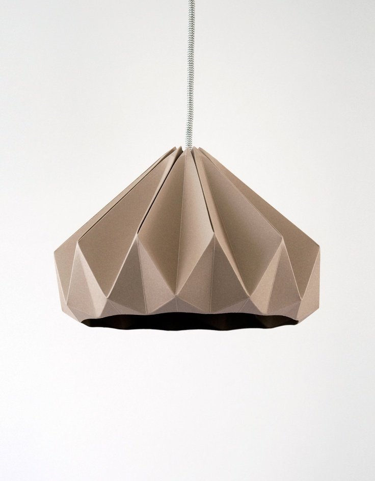 Chestnut paper origami lampshade Cardboard Brown. €89.00, via Etsy.
