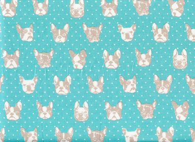 Japanese Import French Bulldog Cotton BlueQuilt turquoise, pink