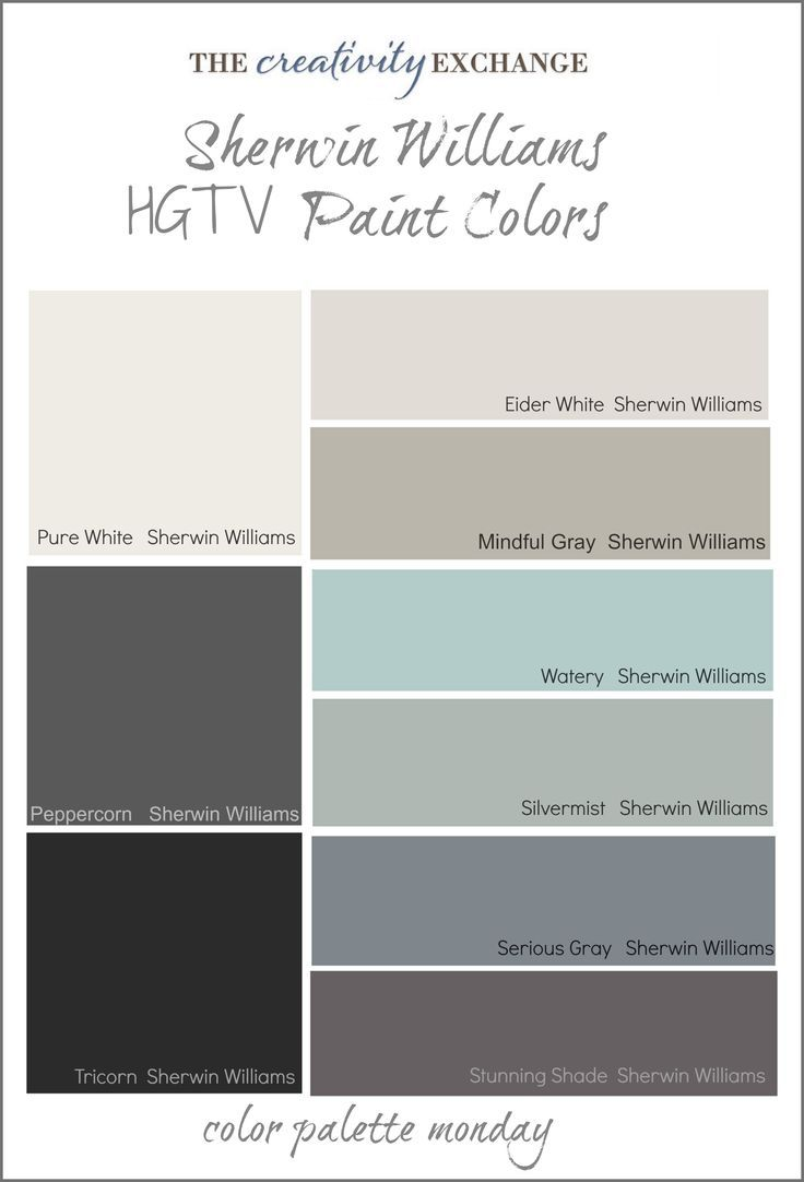 HGTV Paint Colors from Sherwin Williams Color Palette Monday- this looks like the colors in my house with different names. Seriously...that's crazy.
