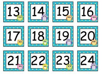 FREE OWL CALENDAR NUMBERS - TeachersPayTeachers.com