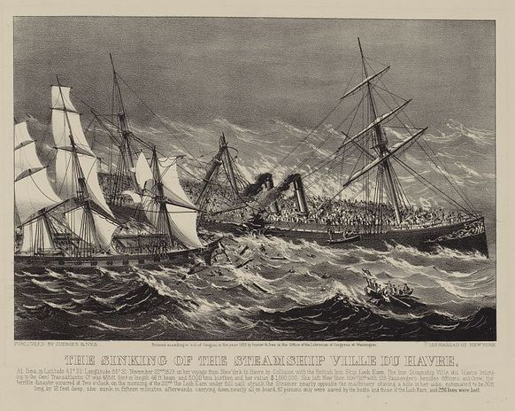 "Illustration: ""The Sinking of the Steamship Ville du Havre"" by Currier & Ives, c.1873. Source: Library of Congress Prints and Photographs Division. Read more on the GenealogyBank blog: ""'It Is Well with My Soul': the Story of Horatio Spafford."" http://blog.genealogybank.com/it-is-well-with-my-soul-the-story-of-horatio-spafford.html"