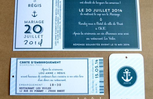 #Nautical wedding invitation with boarding and cabin Pass' faire-part de mariage thème #Marin #Nautique