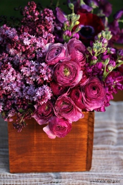 Lilac, Ranunuculus and stock. Love all three of these. Peonies and Hydrangeas in purple hues.