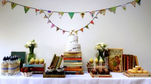 """Book"" Buffet . . . .Old Book, Baby Food, Book Shower, Book Parties, Desserts Bar, Parties Desserts, Cake Tables, Desserts Tables, Baby Shower"