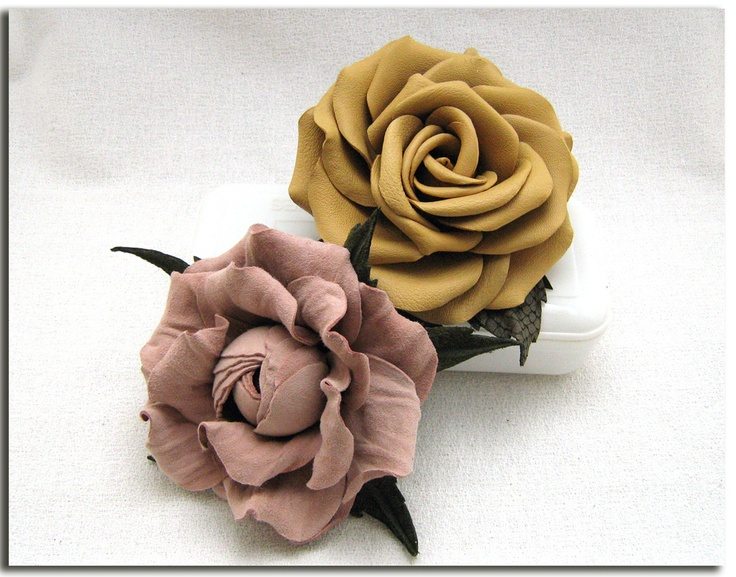 Handcrafted leather roses (accessories, brooches, handmade, mustard, dusty pink, suede, flowers) http://www.leatherblooms.com/2013/03/02/thinking-of-roses/