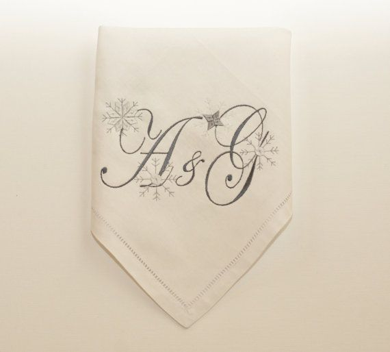 white personalized christmas napkins