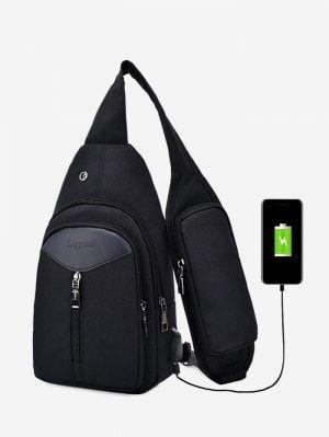 Headphone Hole USB Charging Port Chest Bag - Black