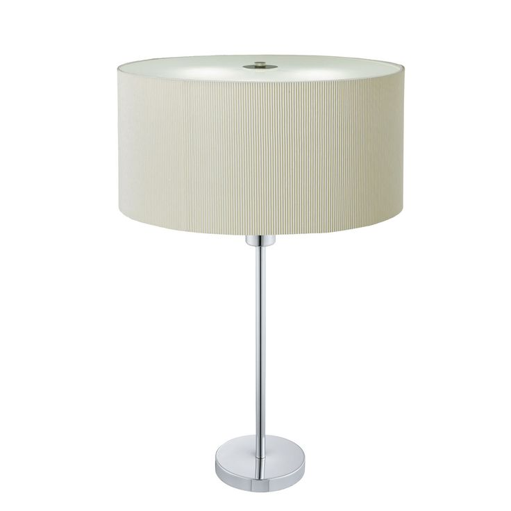 4562 2CR DRUM PLEAT CHROME 2 LIGHT TABLE LAMP WITH CREAM SHADE From Dushka Ltd