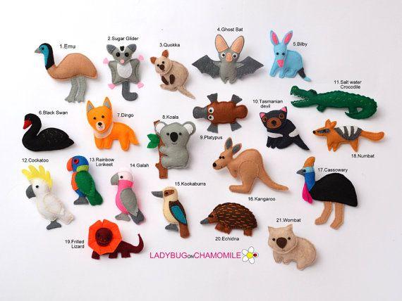 ANIMALES australianos fieltro imanes - precio por 1 artículo - haga su propio juego - animales Aussie, imanes del refrigerador, imanes del refrigerador lindo
