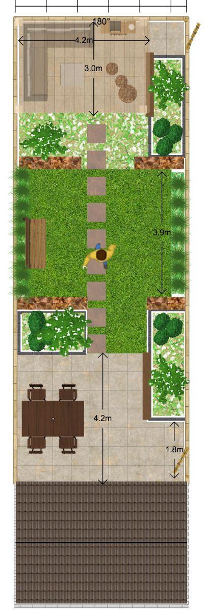 lange smalle achtertuin waar door achterliggende plantsoen met hoge bomen niet al te veel zon komt.