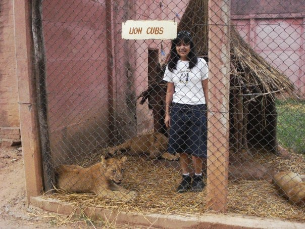 Me in the Lion's den with the cubs :)