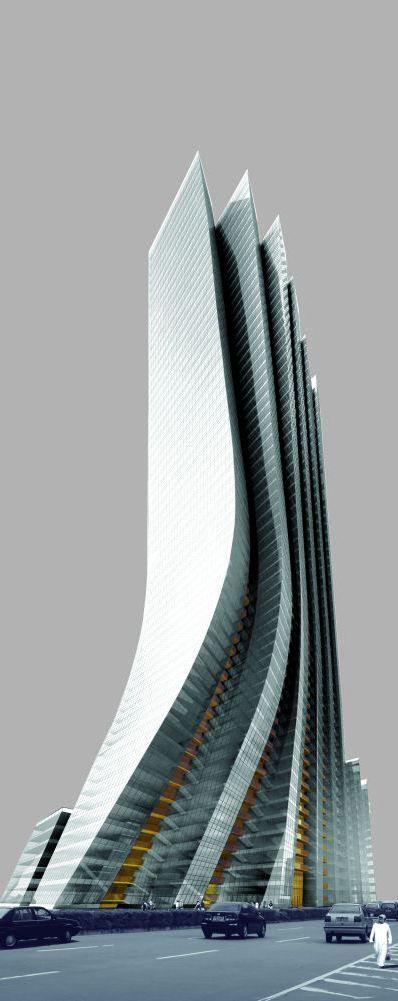 Torre Imperio de la Isla, Abu Dhabi, Emiratos Árabes Unidos, diseñado por Aedas. 57 pisos, la altura de 230m.