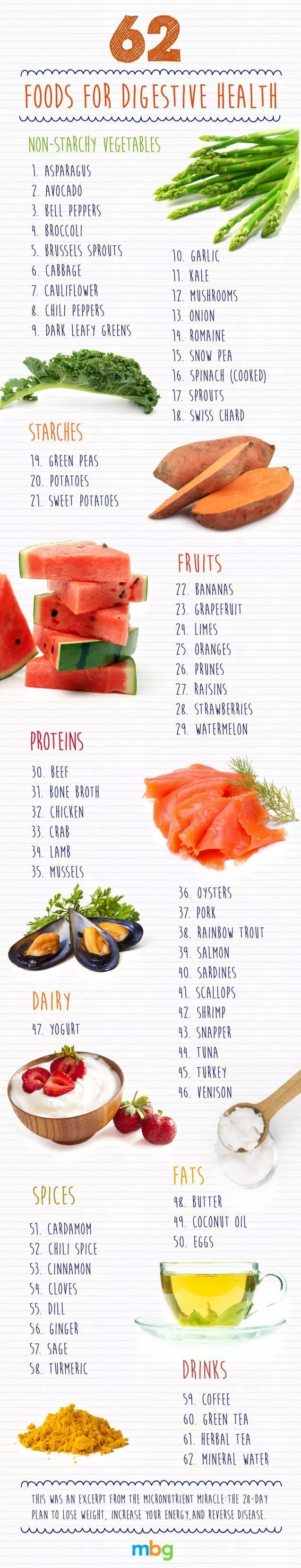 62 FOODS FOR DIGESTIVE HEALTH HIGH IN MAGNESIUM, IRON, ZINC AND B VITAMINS (infographic)