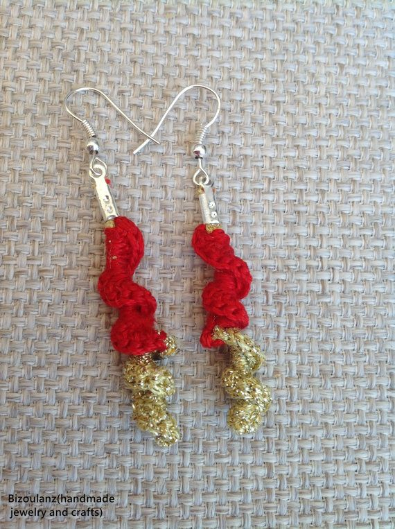 red and gold spiral crocheted earringsscrew shape dna by Bizoulanz