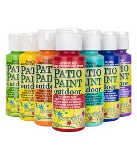 DecoArt Patio Paints - 2 oz. ! & craft paints at Joann.com. Use this to paint terra cotta small pots, put a spot of chalk paint on it for the name and table number. Voila!