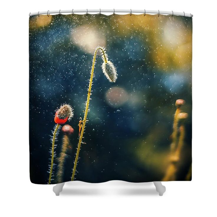 Shower Curtain featuring the photograph Bud In Sparky Night by Oksana Ariskina. Bud of a poppy flower in a sparkling bokeh navy blue abstract night background. Available as mugs, posters, greeting cards, phone cases, throw pillows, framed fine art prints, metal, acrylic or canvas prints, shower curtains, duvet covers with my fine art photography online: www.oksana-ariskina.pixels.com #OksanaAriskina