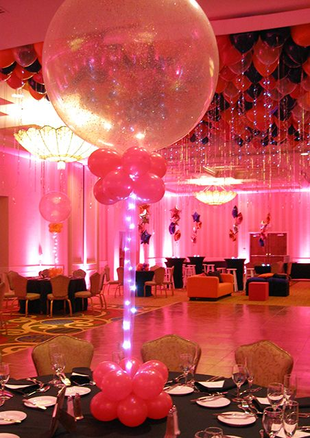 Pink sparkle balloons with tulle lights some of these for Balloon decoration for ceiling