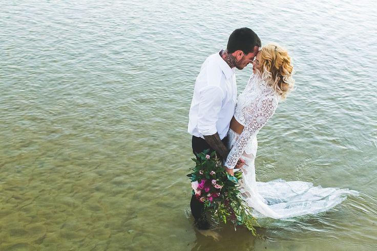 Stunning styled shoot at Currimundi Lake Photographer: Adriana Watson Dress: Judy Copley Hair: Rolling Scissors